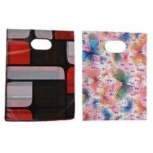 200 шт. красивый мини-пластиковый подарочный пакет для ювелирных изделий с смешанным рисунком 20x15 см стили: 5 и 6