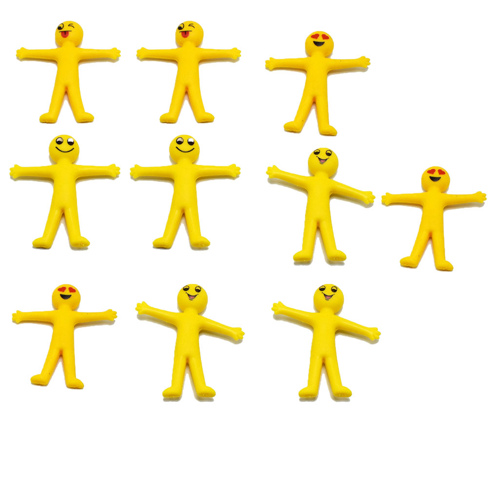 10Pcs Anti Stress Squeeze Smiley Man Stretchy Toy Novelty Gag Toy Soft Gel Expression Yellow Villain Pull Little Man Doll Toy