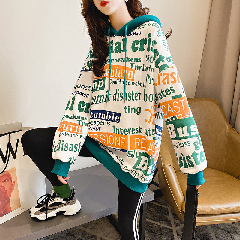 Korean Version Of Loose Sweatshirt Autumn Winter Ladies Plus Velvet Hip Hop Street Hooded Casual Jacket Top