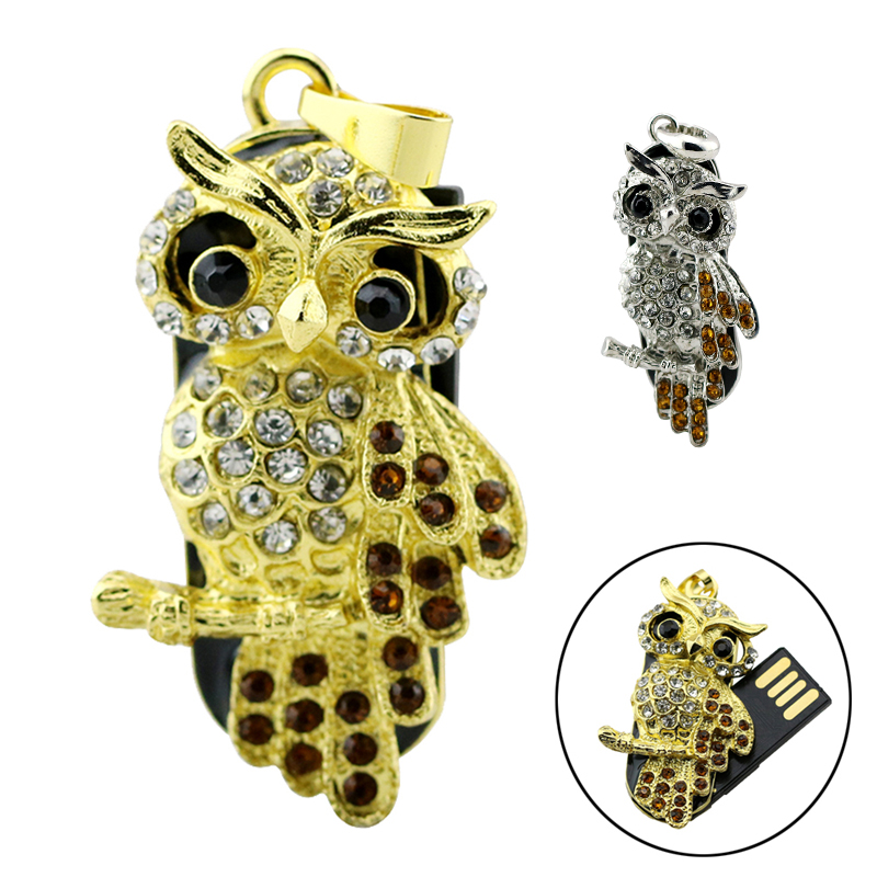 Metal Crystal Lovely Owl Usb U Disk 4GB 8GB Pen Drive 16GB 32GB Pendrive 64GB 128GB Usb Flash Memory Stick USB Animal Mini Gift