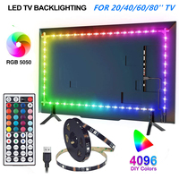 LED TV hintergrundbeleuchtung RGB 5050 led Streifen Licht mit Fernbedienung für Zimmer, Schlafzimmer, TV, Küche, schreibtisch Dekor
