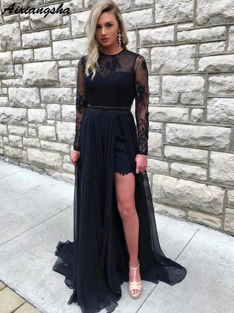 Round Neck Long Sleeves Open Back Lace Beaded Black   Prom     Dresses   with Slit Chiffon Long Formal Party Gowns 2019