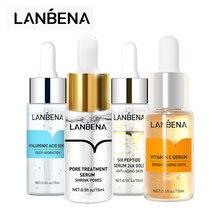 Lanbena 4 pçs soro de ácido hialurónico + soro de vitamina c + soro de ouro 24k soro de tratamento de poros soro de cara