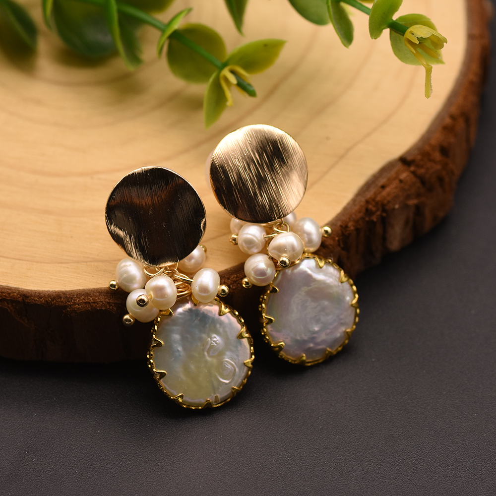 H70201dade5d94ccea0add6e67648f325B - GLSEEVO Natural Fresh Water Baroque Pearl Earrings For Women Plant Leaves Dangle Earrings Luxury Handmade Fine Jewelry GE0308