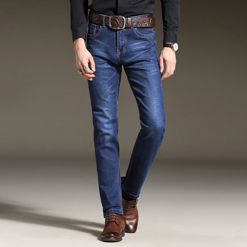 Autumn And Winter Jeans Men's Elasticity Slim Fit Straight-Cut Jeans Business Youth Large Size Trousers