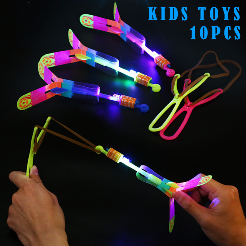 10 Pcs Amazing LED Light Arrow Rocket Kids Helicopter Flying Toys Outdoor Flashing Toy Fly Arrow Children'S Toys Xmas Gift FDX99