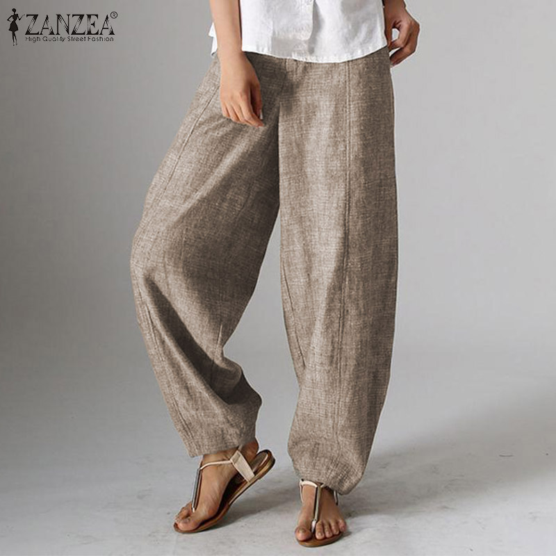 2020 Autumn Solid Zipper Lantern Pants ZANZEA Elegant Work OL Long Trousers Women Casual Cropped Pantalon Female Pant Palazzo
