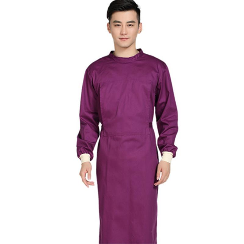 2020 Long Surgical Surgeon Gown Medical Clothing Reinforced Protective Gown Solid Reusable Wrap Around Gowns