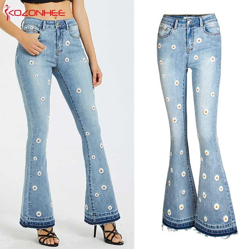 Embroidery Low Waist Elastic Flare Jeans Women Retro Style Bell Bottom Skinny Jeans Female  Blue Wide Leg Denim Pants Plus Size