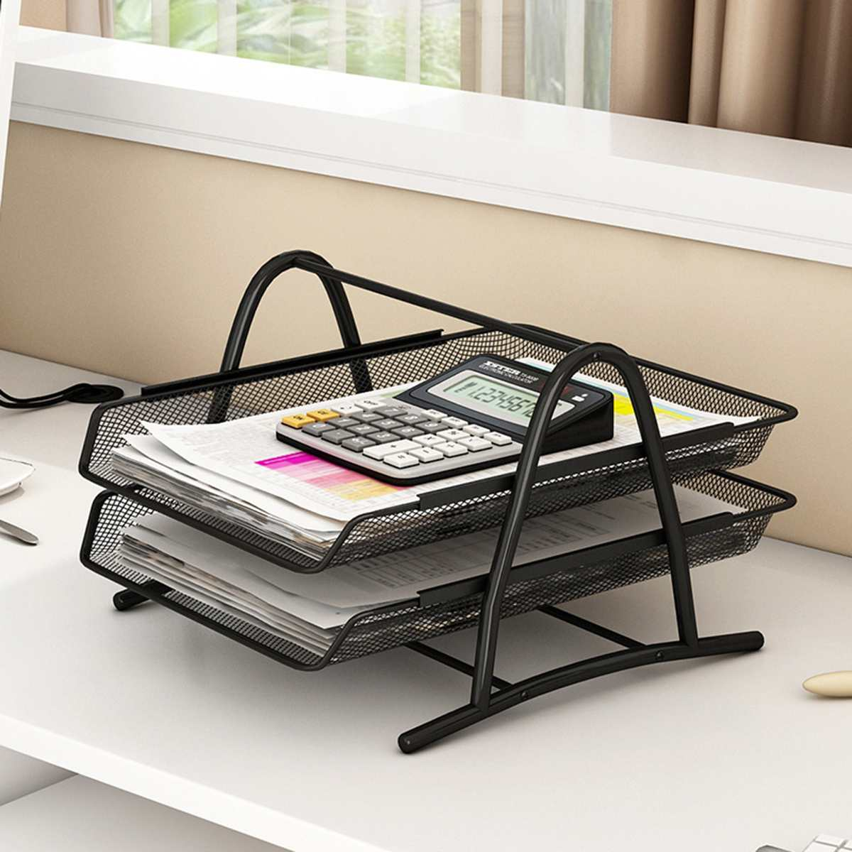 Stackable Document Organizer A4 Paper File Letter Book Tray Magazine Notebook Organizer Carrying Case Metal Iron Net 2/3/4 Tier