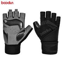 Boodun-guantes de levantamiento de pesas para hombre, manoplas de medio dedo para gimnasio, Fitness, soporte para muñeca, Crossfit, entrenamiento deportivo
