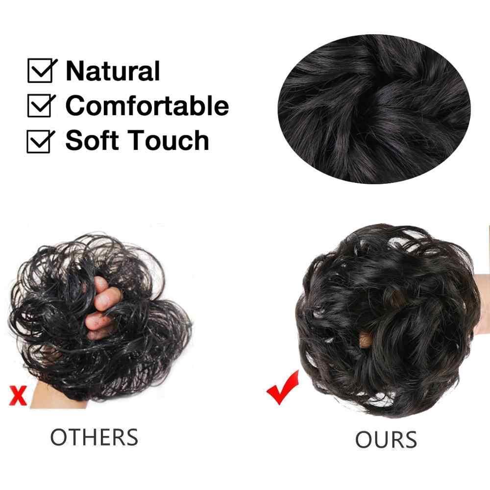 Moño de pelo desordenado para mujeres extensiones de cabello peluca sintética anillo envoltura Chignon negro marrón fibra de alta temperatura