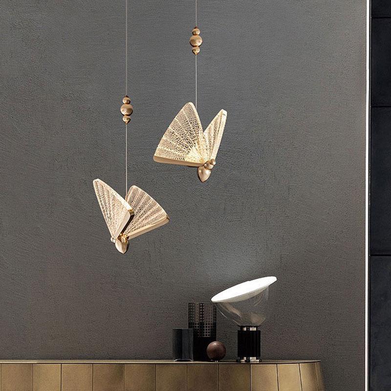 Lâmpada da sala de jantar moderna simples borboleta quarto lâmpada cabeceira barra duplex escada luz pingente