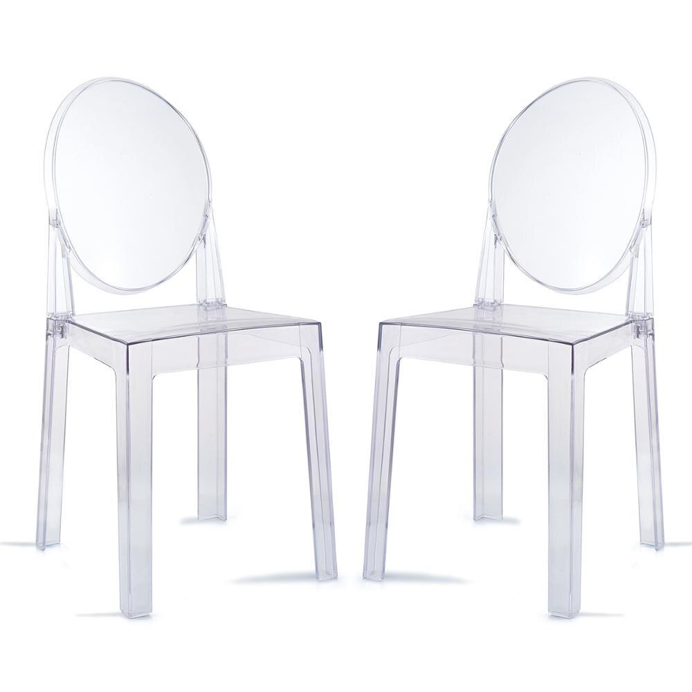 Cadeira de jantar plástica moderna transparente do fantasma do espaço livre da cadeira de jantar de 2 pces/cadeira de vestir da vaidade