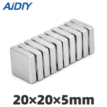 AI DIY 2/5/lot Pcs 20x20x5mm Strong Block Neodymium Magnets Permanent Small Super Powerful Rectangular 20 * 5mm