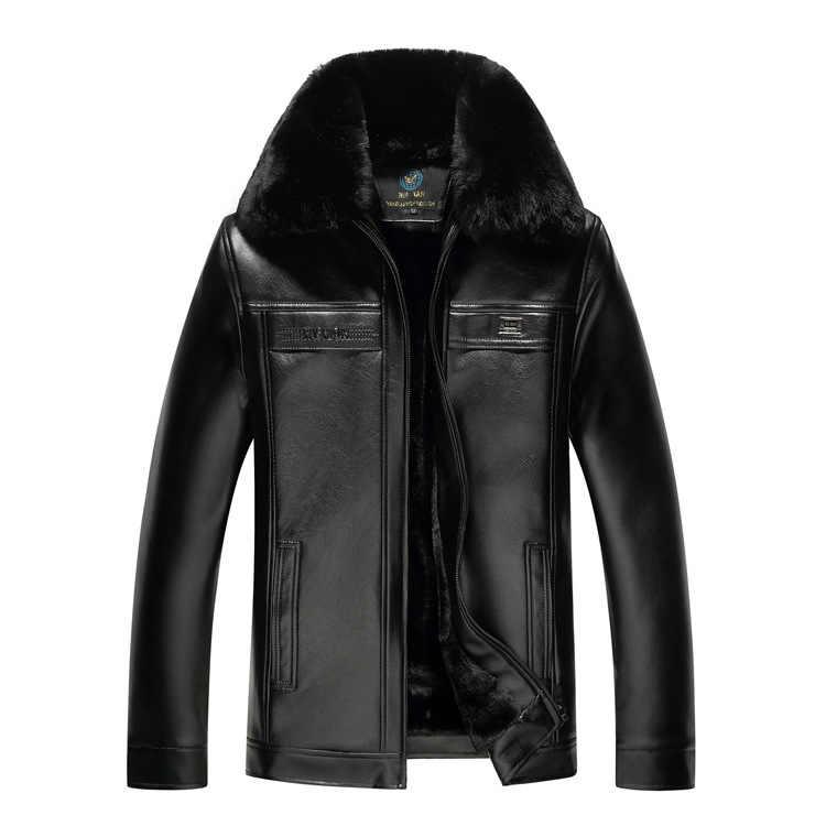 Nuovo Stile In Pelle di Mezza Età Cappotto Fold-down Collare più di Velluto Cappotto di Pelle Caldo DELL'UNITÀ di elaborazione del Cappotto di Pelle Papà Vestiti