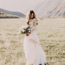 Свадебное платье с кружевной аппликацией в стиле бохо Пляжное