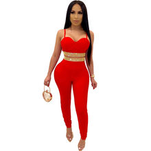 Sparkly Rhinestone Celebrity Party Two Piece Set Women Spaghetti Strap Strapless Crop Top Pencil Pants Elegant Sexy Club Outfits(China)