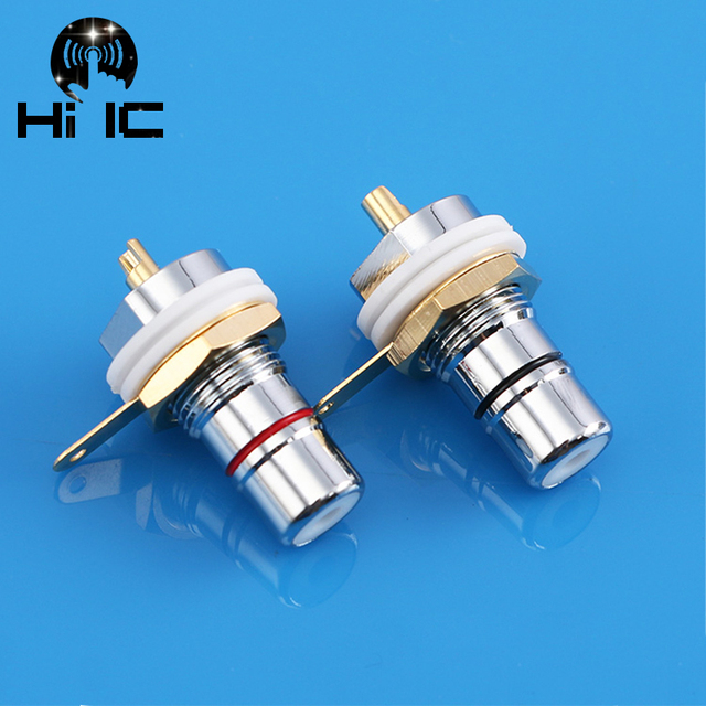 1 Pair/2pcs Amp HiFi Rhodium plated Binding Post RCA Female Socket Chassis RCA CMC Female Connector Socket Plug Audio Terminal