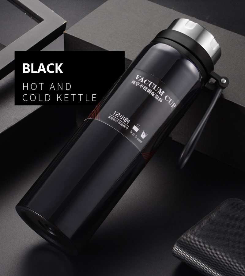 H7020e953062a4f2b91261f291bae04f9C Sports bottle 800ML / 1000ML large capacity double stainless steel thermos outdoor travel portable leak-proof car vacuum flask