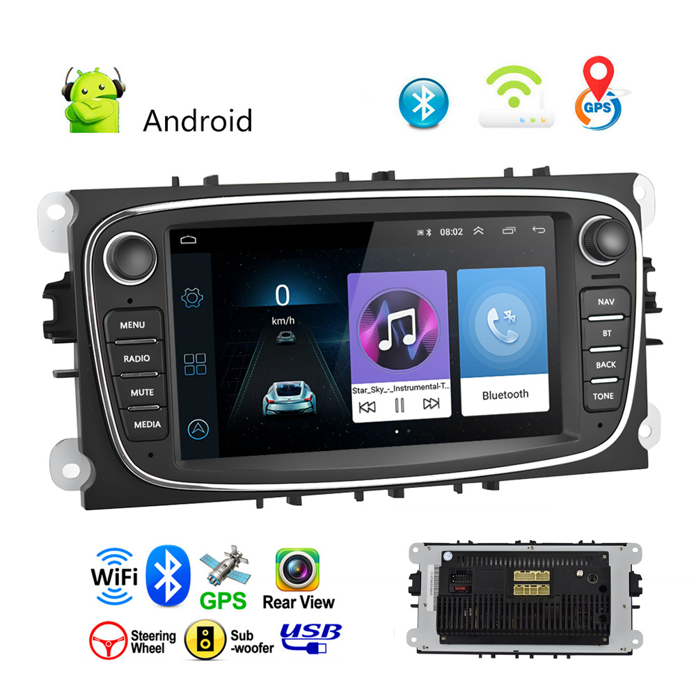 Hikity Android Car Radios <font><b>2</b></font> <font><b>Din</b></font> <font><b>GPS</b></font> Car Multimedia Player 7'' Audio Stereo DVD Player for Ford/Focus/S-Max/Mondeo 9/GalaxyC-Max image
