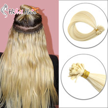 HiArt 0.8 g/s Platte Tip Hair Extensions In Human Remy Hair Salon Double Drawn Hair Extensions Straight Fusion Hair Extensions(China)