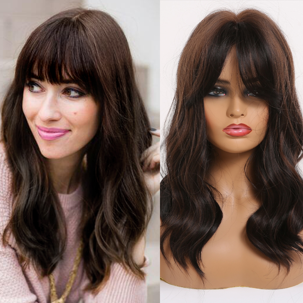 EASIHAIR Medium Length Dark Brown Synthetic Wigs For Women Natural Wavy Wigs With Highlights Trendy Heat Resistant Daily Wig