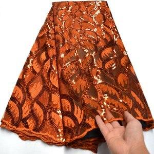 Image 3 - Tissu dentelle à paillettes africaines bleu Royal