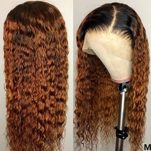 1B/30 Curly Brazilian Remy Hair Lace Wig 180 Density Ombre Color Lace Front Human Hair Wigs With Baby Hair 13*4 Pre Plucked KL(China)