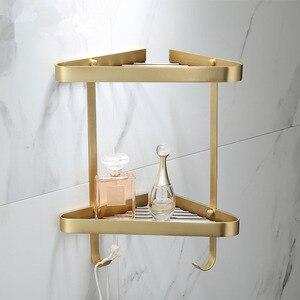 Угловая полка, латунная душевая полка для ванной комнаты, матовая Золотая душевая полка для ванной, душевая полка, настенная полка для ванно...
