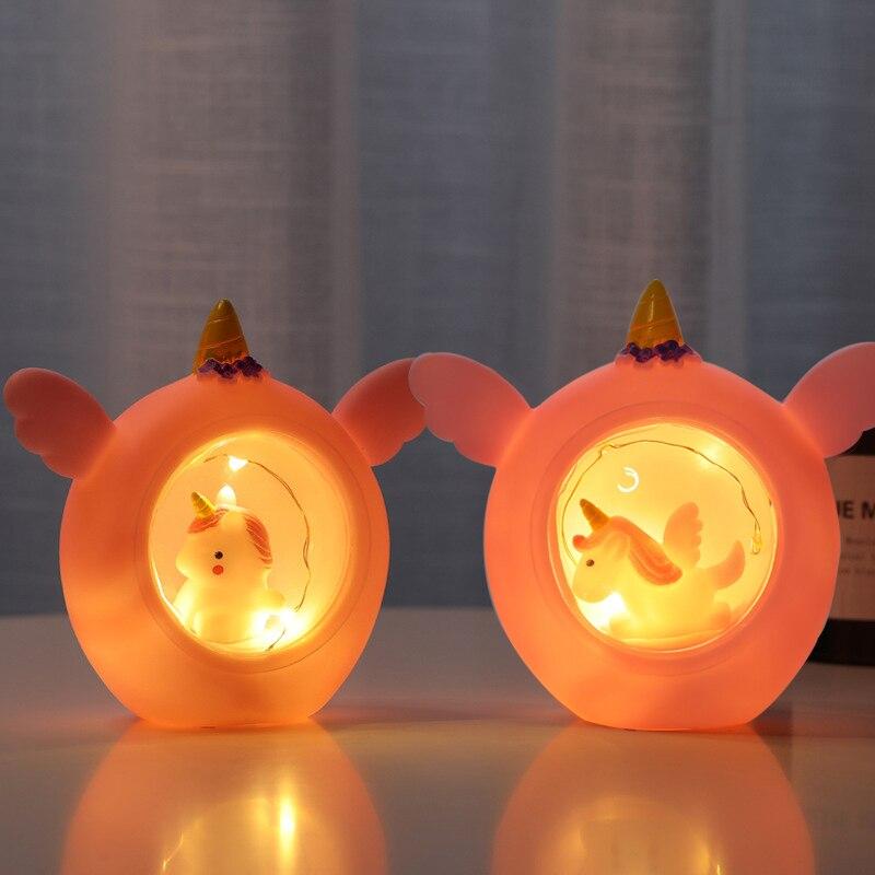 Led animal luz da noite pvc dos desenhos animados unicórnio lâmpada do bebê crianças quarto decoração lâmpadas de mesa brinquedo do cavalo presente natal para crianças