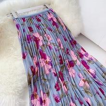 Sweet Flower Print Midi Skirt Women High Waist Pleated Skirt 2019 Summer Chic Vacation Skirt Ladies Purple Holiday Skirts chic women s ethnic print high waist skirt