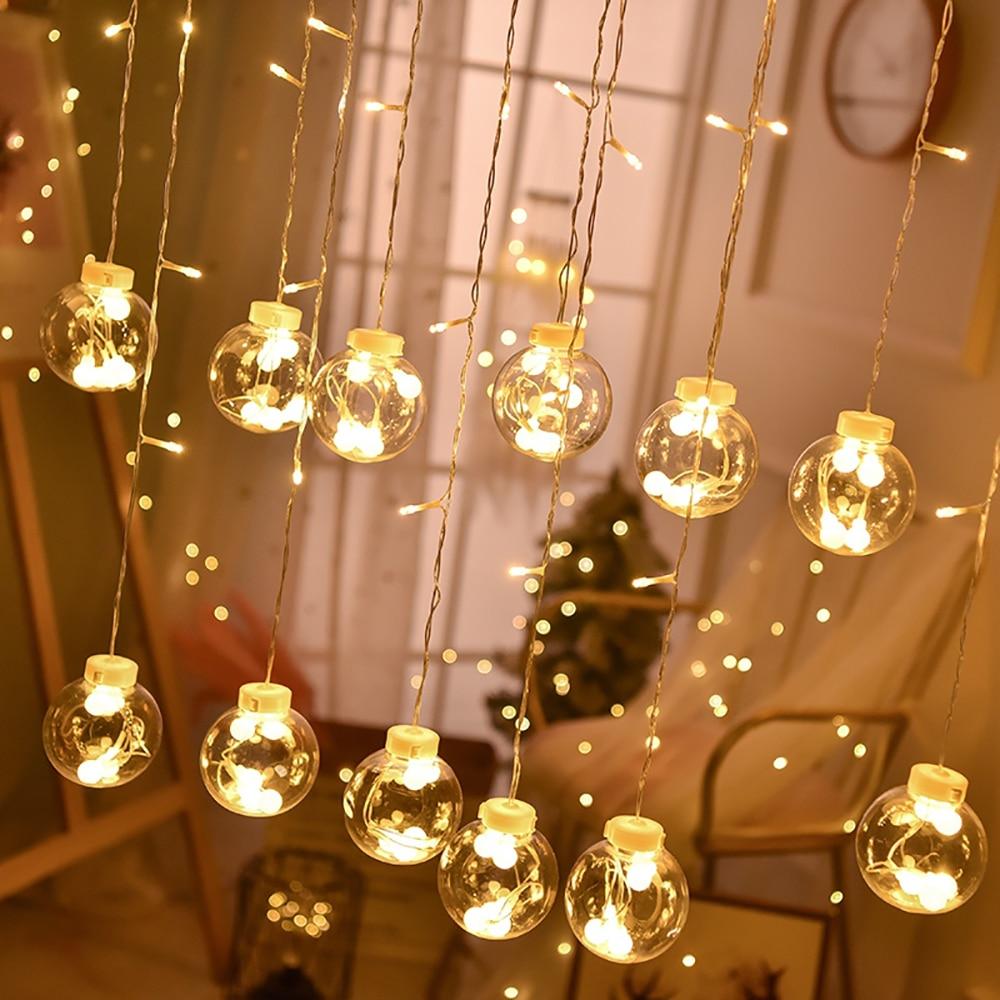 Desejando bola luzes led string, eu-plug alimentado 8 modos de fadas estrelado desejo bola luzes para cortinas quarto varanda festa decorat