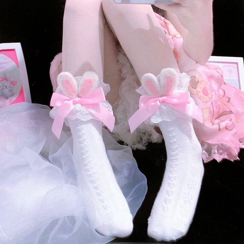 Японские зимние модные и милые носки хлопковые для девочек в стиле «Лолита», носки для девочек, хлопковый галстук-бабочка» и кроличьими ушк...