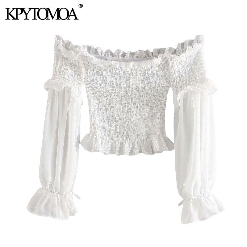 KPYTOMOA Women 2020 Sexy Fashion Smocked Elastic Ruffled Cropped Blouses Vintage Slash Neck Long Sleeve Female Shirts Chic Tops