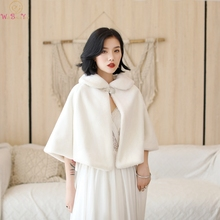2020 100% Real Pictures Ivory Party Evening Jacket Wrap Faux Fur Wedding Cape Winter Women Bolero Wrap Winter Shawl In Stock