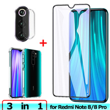Glass + Case for Xiaomi Redmi Note 8 Pro Tempered Film Camera Lens Screen Protector