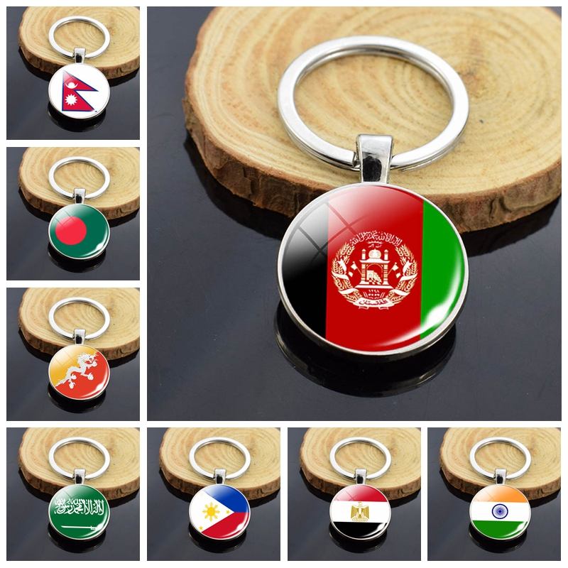 Asian Country Flag Key Chains China India Afghanistan Egypt Singapore Nepal National Flag Double Side Glass Cabochon Keychain