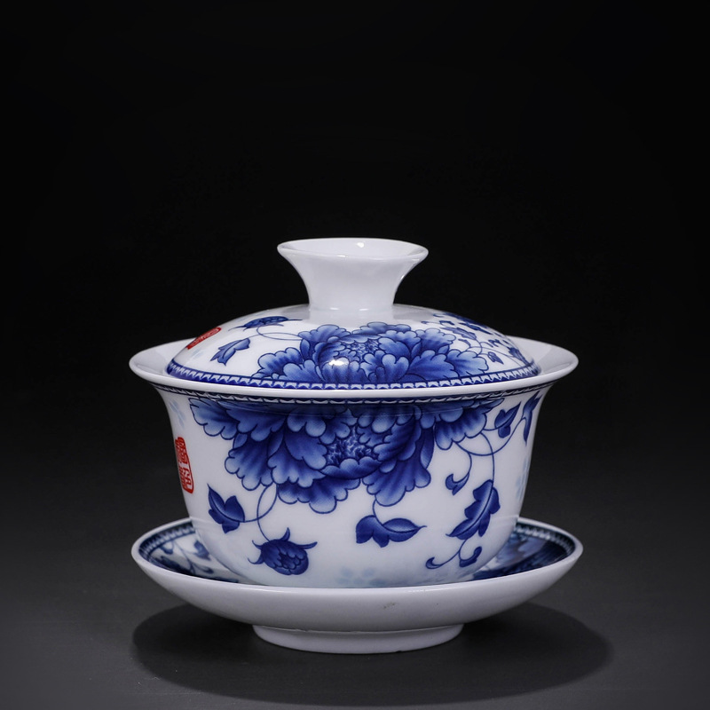 200ml Blue and White Porcelian Gaiwan Eggshell Tea Coffee Cup and Saucer Set