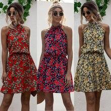 Hot Sale Sexy halter beach dress 2020 fashion print flowers ladies boho dress women sleeveless beach party summer aline vestidos