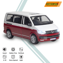 HOBEKARS 1:32 Diecasts & Toy Vehicles Simulation Van Metal Alloy Model Car Toys With Sound And Light Pull Back For Collection 1 32 toy car simulation alloy catapult chariot three in one children sound and light pull back toy racing car ornaments model