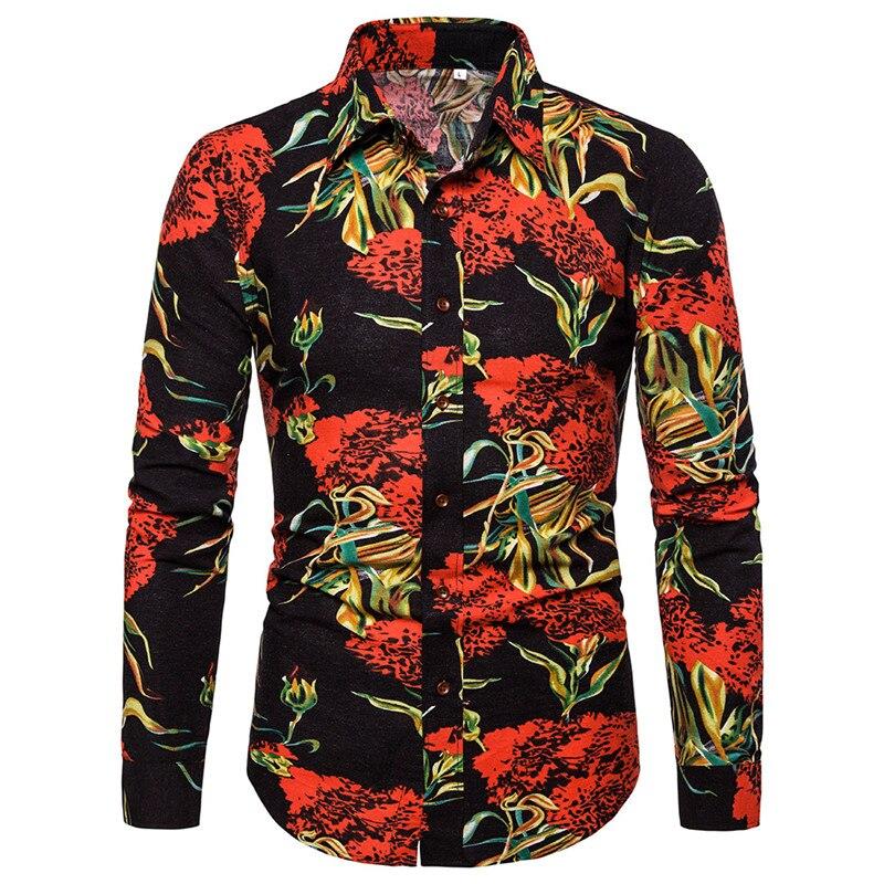 Floral Hawaiian Shirt Men 2019 Fashion Vintage Linen Shirts Men Slim Fit Long Sleeve Mens Dress Shirts Wedding Party Men Clothes