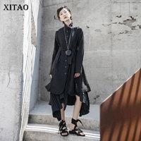 XITAO Single Breast Black Trench Women Fashion New Full Sleeve Irregular 2020 Spring Minority Casual Goddess Fan Coat DMY3285
