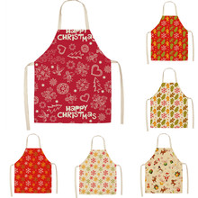 1Pcs Christmas Apron Snowflake Printed Sleeveless Cotton Linen Aprons Adult Children Bibs Kitchen Cooking Cleaning Tools