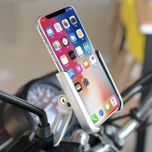 Aluminum Alloy Cycling Stand Bracket Adjustable Bike Bicycle Handlebar Phone Mount Motorcycle Rear View Mirror Phone Holder Silv(China)