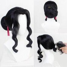 Demon Slayer Kimetsu nie Yaiba Kibutsuji mujan peruka do Cosplay kostium czarne kobiety kręcone włosy + darmowa peruka Cap