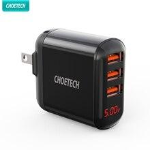 CHOETECH – chargeur mural USB à trois ports, avec prise pliable, affichage numérique LED, Compatible avec iPhone 12 Max IPad