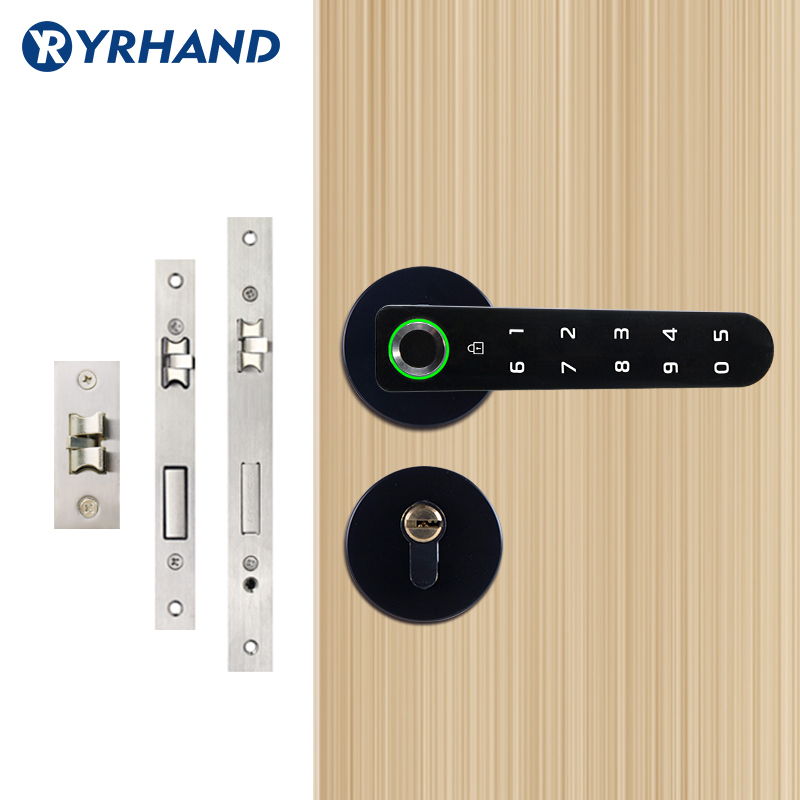 Biometric Lock Semiconductor Fingerprint Lock Smart Door Lock, Electronic Split Handle Lock Unlock By Key, Passcode, Fingerprint