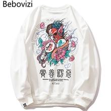 Bebovizi 2019 Men Streetwear Hip Hop Pullover Sweatshirt Demon Print Harajuku Pullover Cotton Japanese Hoodie Street Wear