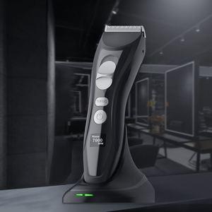 Image 1 - Profesyonel şarj edilebilir elektrikli saç kesme makinesi titanyum kafa berber saç düzeltici erkekler için akıllı LCD ekran saç kesme makinesi
